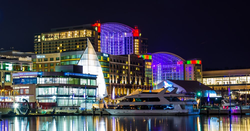 National Harbor at night with lights